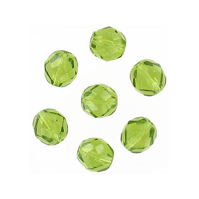 Fire polished Czech beads, olivine, 6mm