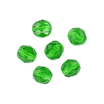 Fire polished Czech beads, peridot, 6mm