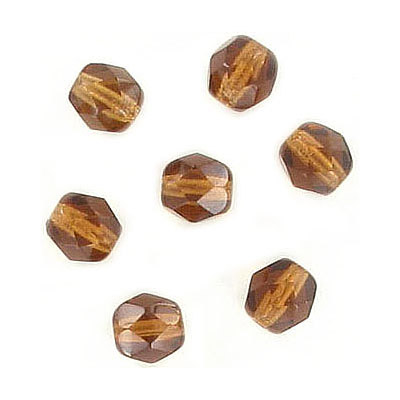 Fire polished Czech beads, smoked topaz, 6mm