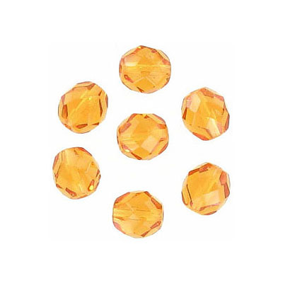 Fire polished Czech beads, topaz, 6mm