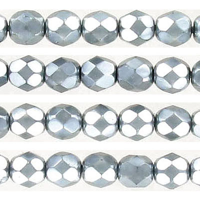Fire polished Czech beads, pearlized faceted, blue grey, 6mm