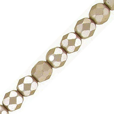 Fire polished faceted beads, 6mm, pearl taupe, 33 beads per strand