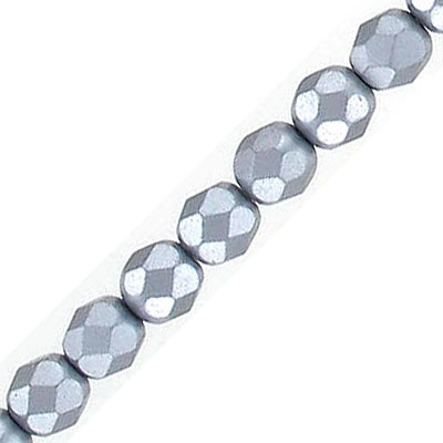 Fire polished faceted beads, 6mm, pearl grey, 33 beads per strand