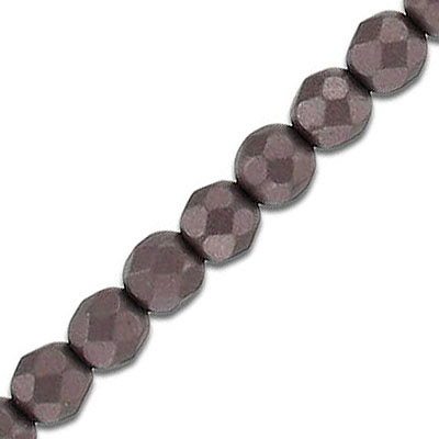 Fire polished faceted beads, 6mm, pearl brown, 33 beads per strand