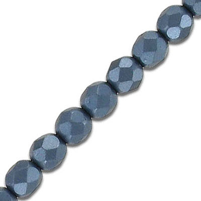 Fire polished faceted beads, 6mm, pearl black, 33 beads per strand