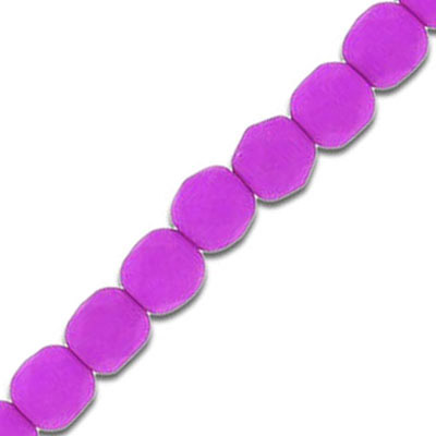 Fire polished beads, 6mm, neon magenta, 7 inch strands