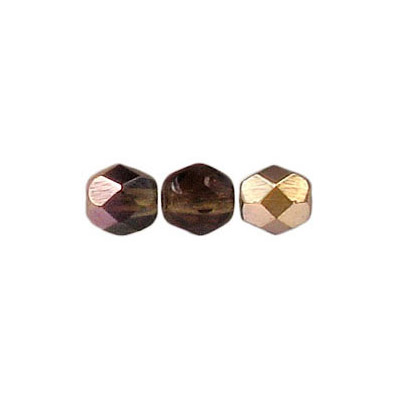 Fire polished Czech beads, transparent smoked topaz cap, 6mm