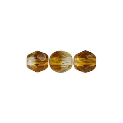Fire polished Czech beads, crystal topaz, 6mm