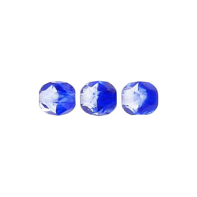 Fire polished beads, 6mm size, crystal/cobalt blue