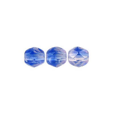 Fire polished Czech beads, transparent blue pink 2-tone, 6mm