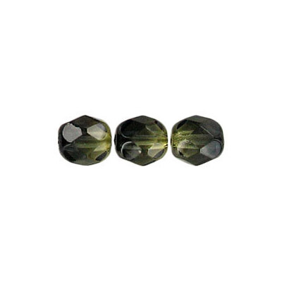 Fire polished Czech beads, olivine black, 6mm