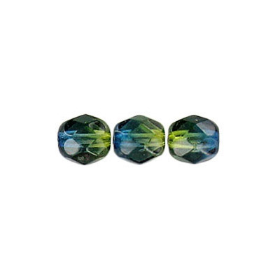 Fire polished Czech beads, green blue, 6mm