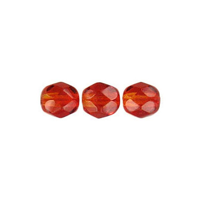 Fire polished Czech beads, orange yellow, 6mm