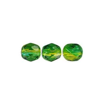 Fire polished Czech beads, green yellow, 6mm