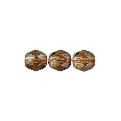 Fire polished Czech beads, brown light brown, 6mm