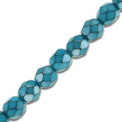 Fire polished beads, 6mm, turquoise snake pattern, pack of 5 strands, 7 inch each strand