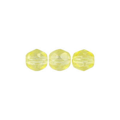 Fire polished Czech beads, citrine, 6mm