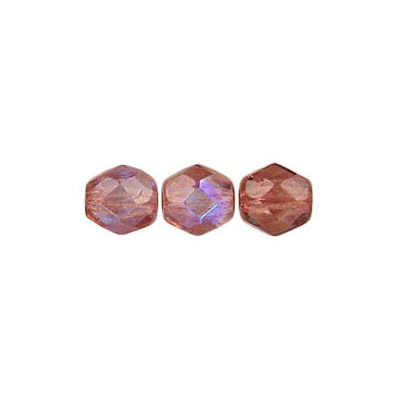 Fire polished Czech beads, AB old rose, 6mm