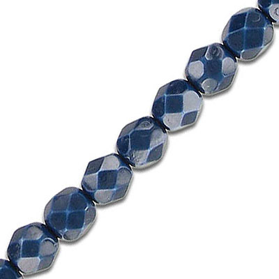 Fire polished beads, 6mm, vividi montana blue snake, pack of 5 strands, 7 inch each strand