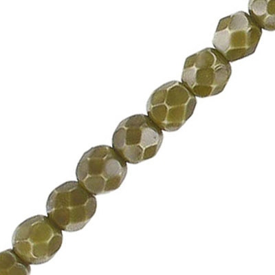 Fire polished beads, 6mm, vividi olive gold, 7 inch strands