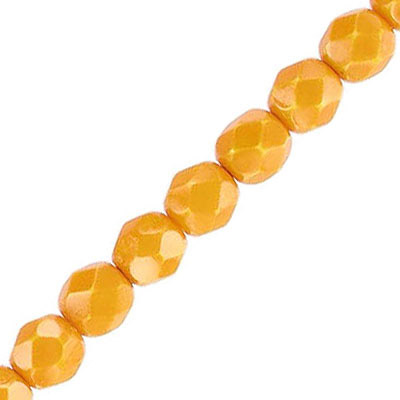 Fire polished beads, 6mm, vividi mustard snake, pack of 5 strands, 7 inch each strand