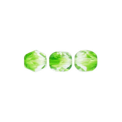 Fire polished beads, 6mm size, crystal/green