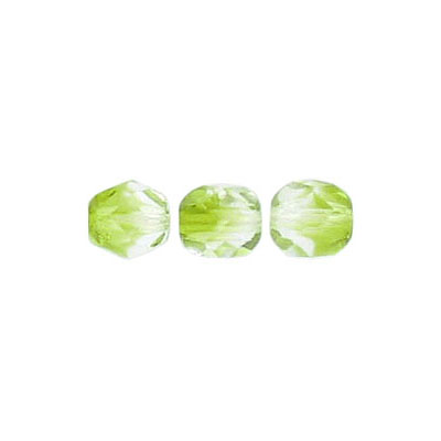 Fire polished beads, 6mm size, crystal/olivine