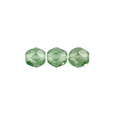 Fire polished Czech beads, transparent tourmaline green strung, 6mm
