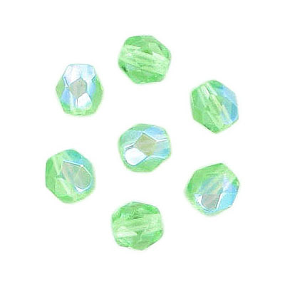 Fire polished Czech beads, AB peridot, 6mm