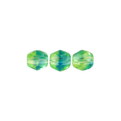 Fire polished Czech beads, blue green, 6mm