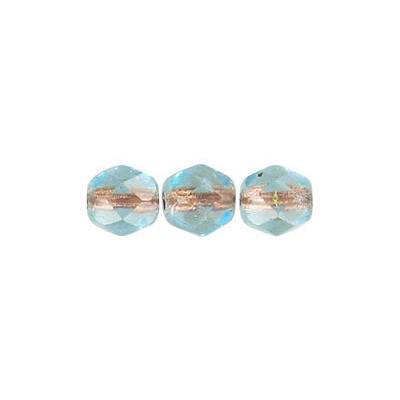 Fire polished Czech beads, transparent light aqua copper lined, 6mm