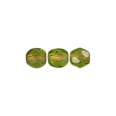 Fire polished Czech beads, transparent olivine copper line, 6mm