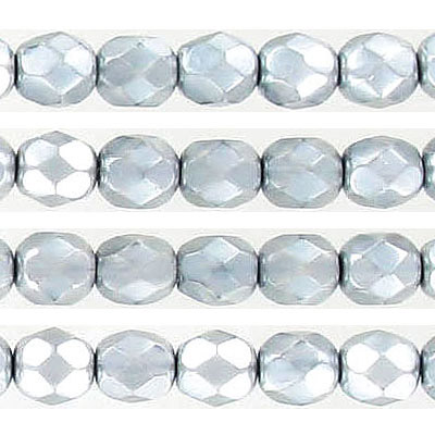 Fire polished Czech beads, pearlized faceted, light grey, 6mm