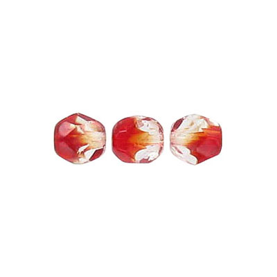 Fire polished beads, 6mm size, crystal/siam ruby