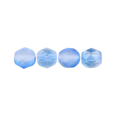 Fire polished Czech beads, matt crystal light blue, 6mm