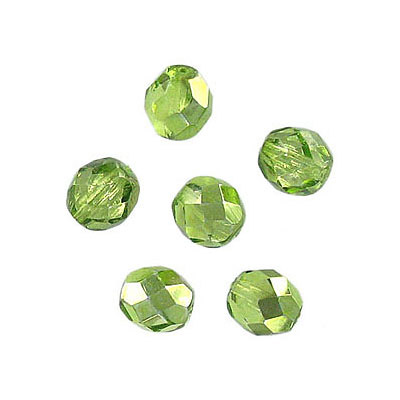 Fire polished Czech beads, olivine cal, 6mm