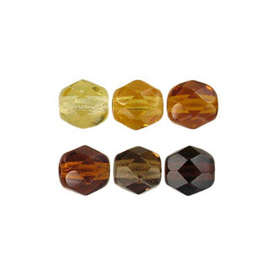 Fire polished Czech beads, mix topaz, 6mm