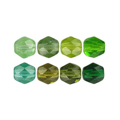 Fire polished Czech beads, mix green, 6mm