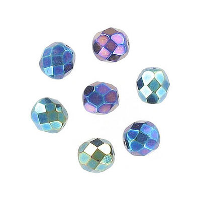 Fire polished Czech beads, blue iris, 6mm