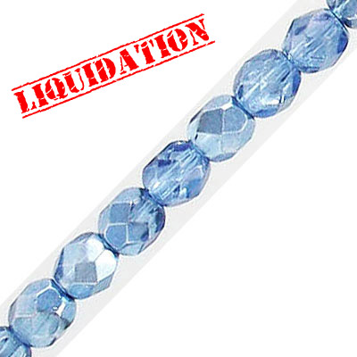 Fire polished faceted glass beads, 6mm, crystal pale sapphire shadow, 66 beads per strand, 16 inch strand
