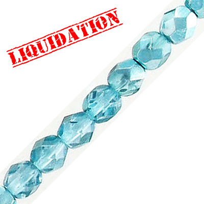 Fire polished faceted glass beads, 6mm, crystal zircon shadow, 66 beads per strand, 16 inch strand