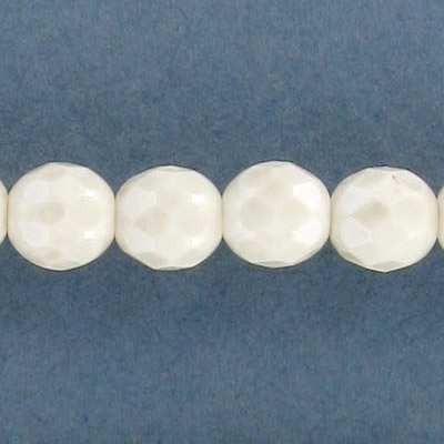 Fire polished beads, 8mm, silver and white, pack of 5 strands, 7 inch strand, 21 beads per strand