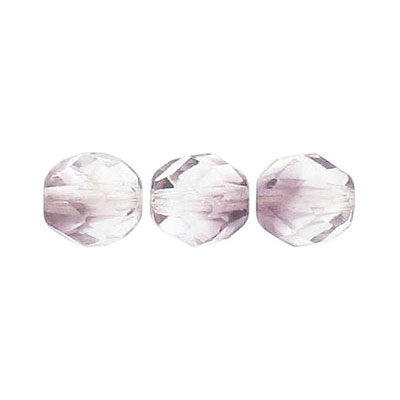 Fire polished beads, 8mm size, crystal/light amethyst