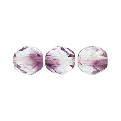 Fire polished beads, 8mm size, crystal/amethyst