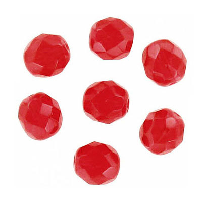 Fire polished Czech beads, light siam, 8mm