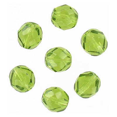 Fire polished Czech beads, olivine, 8mm