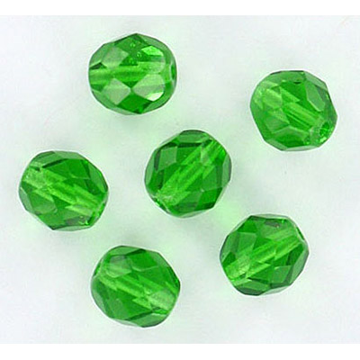 Fire polished Czech beads, peridot, 8mm