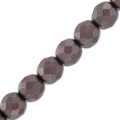 Fire polished faceted beads, 8mm, pearl brown, 25 beads per strand