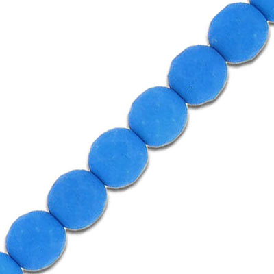 Fire polished beads, 8mm, neon blue, 7 inch strands