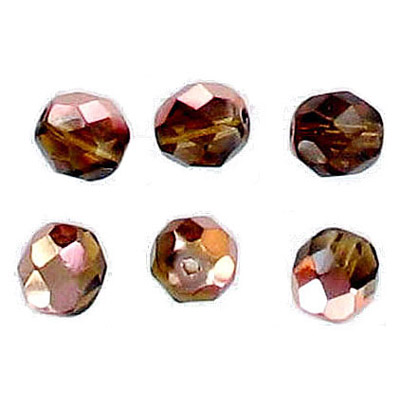 Fire polished Czech beads, transparent smoked topaz, 8mm